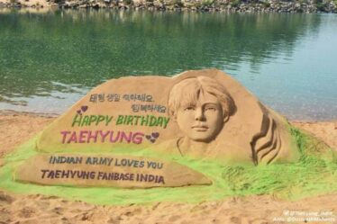 Indian ARMYs Dedicate A Sand Sculpture To BTS' Taehyung For His Upcoming Birthday